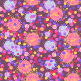 Abstract seamless pattern. Vector seamless pattern with circles and flowers. Abstract background for design greeting cards, invitation, meetings and parties Stock Images