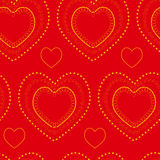 Abstract seamless pattern. Vector abstract seamless doodle bright pattern. Yellow pattern with hearts on the red background Royalty Free Stock Images