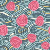 Abstract seamless pattern with vintage roses Royalty Free Stock Image