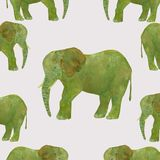 Hand-drawn seamless pattern watercolor elephant on grey background stock illustration