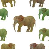 Elephant. Abstract animal seamless pattern watercolor on grey background royalty free stock image