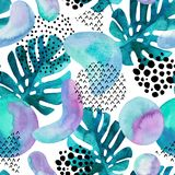 Abstract seamless pattern with watercolor tropical leaves, geometric shapes - minimal grunge textured circle, arc, triangle. Geometric background in 80s 90s Stock Photography