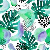 Abstract seamless pattern with watercolor tropical leaves, geometric shapes - minimal grunge textured circle, arc, triangle. Geometric background in 80s 90s Royalty Free Stock Image