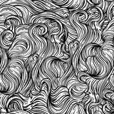 Abstract seamless pattern with wavy hair. Black and white hand drawn vector illustration Stock Image