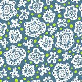 Abstract seamless pattern. Seamless pattern with white abstract shapes and green circles on blue background Royalty Free Illustration
