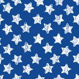 Abstract seamless pattern with white Sketch stars on blue. Geometric background for site, blog, fabric. Vector. Illustration stock illustration