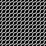 Abstract seamless pattern with white waves in diagonal arrangement on black background. Simple flat geometric vector Stock Images
