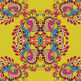 Abstract  seamless pattern on yellow background. Bright colors. Vector illustration. Stock Photos