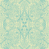 Abstract seamless pattern  in  Zen tangle or Zen doodle style  in beige light blue Royalty Free Stock Image