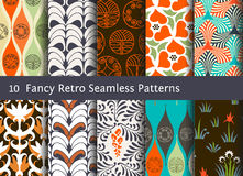 Abstract seamless patterns. Geometrical and floral ornaments. Abstract seamless patterns. Geometrical and floral ornamental motifs. Retro style set Royalty Free Stock Images