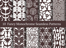 Abstract seamless patterns. Geometrical and floral ornaments Stock Images