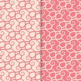 Abstract seamless patterns. Red and pink backgrounds for textile and fabrics. Abstract seamless patterns. Red and pink backgrounds for textile, wallpapers and royalty free illustration