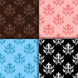 Abstract seamless patterns set. Black, brown, blue and pink vector illustration Stock Photography