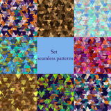 Abstract seamless patterns set. Set of abstract seamless patterns of colored triangles- illustration. Bright rich colors, beautiful print texture. EPS 10 Stock Photography