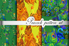 Abstract seamless patterns set, gold green peacock feathers. Vector illustration Royalty Free Stock Photo