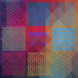 Abstract Seamless Patterns on Triangular Background. Set of Eight Abstract Hand Drawn Sketched Geometric Colorful Seamless Patterns on Triangular Background Stock Photography