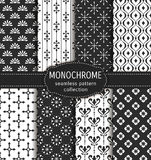 Abstract seamless patterns. Vector set. Abstract seamless patterns in black and white colors. Set of elegant backgrounds with damask, geometric and floral Vector Illustration