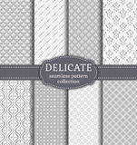 Abstract seamless patterns. Vector set. Abstract seamless patterns in delicate white and gray colors. Set of backgrounds with vintage damask, geometric and Vector Illustration