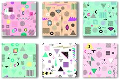 Abstract seamless patterns 80'-90's styles. Trendy memphis style. Abstract seamless patterns 80's-90's styles. Trendy memphis style. Colorful geometric royalty free illustration