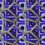 Abstract seamless pavement pattern of 3d blue stones with mosaic. Dark  and light blue mosaic background of sharp stones on a gray background Stock Photo