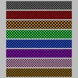 Abstract seamless polka dot pattern web banner background template set - graphic designs with colored circles Royalty Free Stock Photography