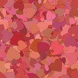 Abstract seamless random heart background pattern - vector illustration from rotated red hearts. With shadow effect royalty free illustration