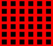 Abstract seamless red background with black squares. Are laid out in rows and form a continuous pattern Stock Photo