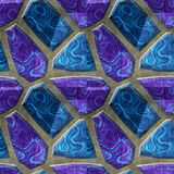 Abstract seamless relief floor pattern of blue and purple mottled stones Stock Photos