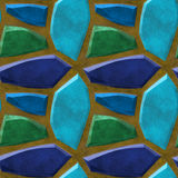 Abstract seamless relief floor pattern with green and blue sharp stones Stock Photo