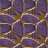 Abstract seamless relief floor pattern of violet polygonal sharp stones with grid Royalty Free Stock Photo