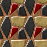 Abstract seamless relief pattern of black, gold and red sharp stones Stock Photo
