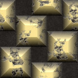 Abstract seamless relief pattern of gold and black scratched beveled cubes Stock Image