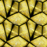 Abstract seamless relief pattern of gold striped stones on a black background. Gold seamless scratched peeling background of polygonal stones. 3d illustration Stock Photos