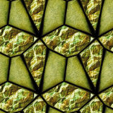 Abstract seamless relief pattern of green and gold grained stones and crystals Royalty Free Stock Images