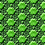 Abstract seamless relief pattern with green stars. Kaleidoscopic 3d pattern resembling glass texture Royalty Free Stock Images