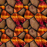 Abstract seamless relief pattern of orange grained stones and crystals with light reflections Royalty Free Stock Images