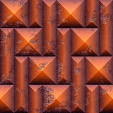 Abstract seamless relief pattern of orange scratched stones. Orange and brown 3d mosaic seamless pattern of pyramidal blocks and beveled rectangles. 3d rendering Stock Images