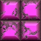 Abstract seamless relief pattern of pink and dark red scratched squares Royalty Free Stock Photos