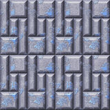 Abstract seamless relief pattern of silver and blue scratched squares and beveled rectangles. Silver and blue seamless pattern of 3d mosaic Royalty Free Stock Photography