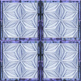 Abstract seamless relief pattern with stylized glass flowers resembling window. Background of blue glass frame with embossed flowers Stock Image
