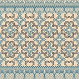 Abstract seamless repeat pattern illustration of lacy leaves, florals and hearts in geometric layout. vector illustration