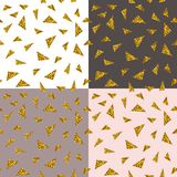 Abstract seamless repeating pattern with gold glitter triangles on different backgrounds.  vector illustration