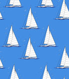 Abstract seamless repeating pattern with sailboats and seagulls. Stock Image