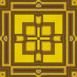 Abstract seamless retro brown and yellow pattern of lines, rectangles and squares Royalty Free Stock Image