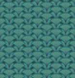 Abstract seamless retro pattern. Green floral back. Floral chinese seamless. Fan motif. Green background. Elegant wallpaper royalty free illustration