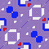 Abstract seamless retro pattern with hearts. Blue and red geometric seamless pattern of contour lines stock illustration