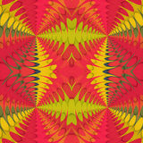 Abstract seamless retro pattern with intertwined geometric motifs. Red, orange, green and yellow abstract shapes royalty free illustration