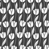 Abstract seamless retro pattern with silhouettes of tulips . Floral design. Textile Design . Vintage background with flowers royalty free illustration