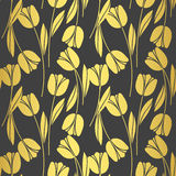 Abstract seamless retro pattern with silhouettes of tulips . Floral design Stock Images