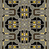Abstract seamless retro pattern of squares and geometric motifs. Black, white, brown and gold pattern of rectangles and squares Royalty Free Stock Photography